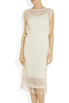 Alice + Olivia|Bea fringed embroidered lace dress|NET-A-PORTER.COM