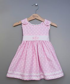 Another great find on #zulily! Pink Dot Monogram Babydoll Dress - Infant, Toddler & Girls #zulilyfinds