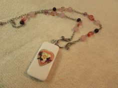 Pink & Purple Heart Domino Necklace Jewelry On Pink And Purple Bead Chain  #Handmade #Chain