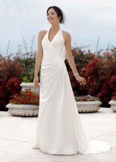 David's Bridal Wedding Dress: Halter Side Draped A Line Gown Style V3189: http://www.amazon.com/Davids-Bridal-Wedding-Dress-Halter/dp/B006PQZQNE/?tag=greavidesto05-20