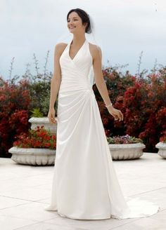 David's Bridal Wedding Dress: Halter Side Draped A Line Gown Style V3189: http://www.amazon.com/Davids-Bridal-Wedding-Dress-Halter/dp/B006PQZQNE/?tag=greavidesto05-20