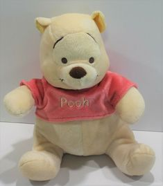 Disney Pooh Baby Rattle Soft Plush Toy Girl Embroidered Eyes #DisneyBaby Coral Pink, Pink Color, Baby Rattle, Baby Disney, Free Items, Plush, Teddy Bear, Toy, Eyes