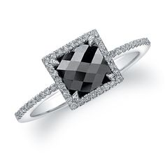 18K White Gold Contemporary Designer Black Diamond Ring. IN LOVE WITH THIS!