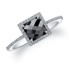 18K White Gold Contemporary Designer Black Diamond Ring - Black Diamond Engagement Rings - Engagement