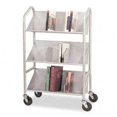 Buddy-Sloped-Shelf-Book-Cart-With-Dividers-3-Shelf-4-X-4-034-Caster-Steel