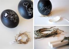Chalkboard Easter Eggs - Ostrich eggs in the picture, but I think it would be better to find wood eggs at craft store instead. Reuseable deco