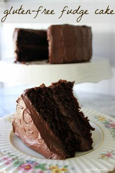 Gluten-Free Fudge Cake - The original recipe uses boiling water instead of coffee. If you are not in the mood to make a frosting, fresh, whipped cream can be used. Don't ice the cake with the whipped cream. Just put it on each individual serving. Gluten Free Chocolate Cake, Chocolate Fudge Cake, Gluten Free Sweets, Gluten Free Cakes, Gluten Free Cooking, Dairy Free Recipes, Chocolate Frosting, Chocolate Desserts, Almond Flour Chocolate Cake