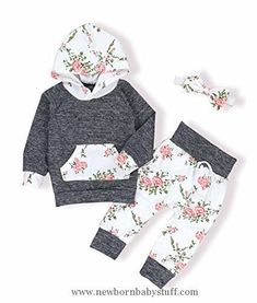 Baby Girl Clothes oklady Toddler Baby Girls Florals Clothes Outfits Set Long Sleeve Hoodie Sweatshirt With Bowknot Headbands(6-12 Months)