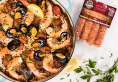 Paella with Andouille Sausage and Seafood