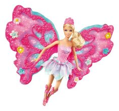 Barbie Flower 'N Flutter Fairy Barbie Doll. Barbie looks even more beautiful with glittery fairy wings. Girls can create their own fairytale scenes. Doll is outfitted in flower petal-inspired fashions. Decorate Barbies wings with 8 sparkly flowers. Features Barbie doll, tiara, magic wand, and 8 flowers.
