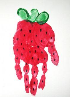Handprint Strawberry... A nice gift for mom or grandma.