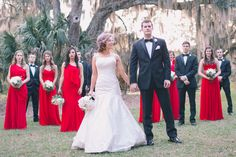 Cherry Red, Black, and Ivory Rustic Chic Wedding from Black and Hue Photography Home Wedding, Red Wedding, Wedding Bells, Wedding Colors, Chic Wedding, Rustic Wedding, Red Bridesmaid Dresses, Red Bridesmaids, Destin Florida Wedding