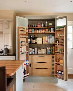 "maybe this for the pantry.  Doors all the way to the ceiling.  Not folding doors, so we can put spices or smaller items on them.  front part of shelves needs to go to the bottom so that spice packages do not ""fall out"""