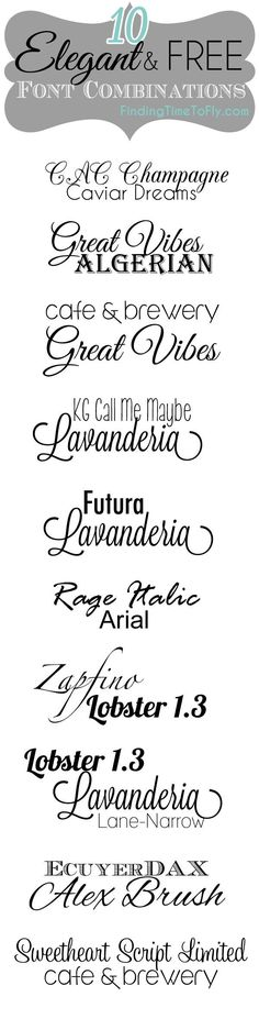 Here are some of my favorite, elegant and free font combinations. You'll find links to download them all included and examples of each.