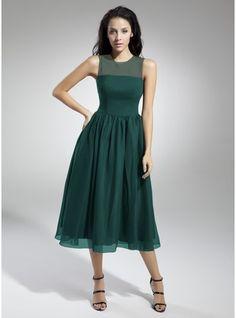 A-Line/Princess Scoop Neck Tea-Length Chiffon Bridesmaid Dress With Ruffle