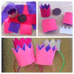 DIY felt crowns on plastic headbands for girl's castle birthday party!