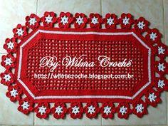 Wilma Crochê: Tapete de crochê vermelho com flores