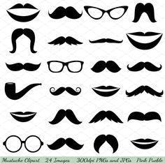 Mustaches Vectors and Clipart by PinkPueblo on @creativemarket