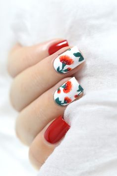Fiery Flowers Nail Art [VIDEO TUTORIAL] - floral nails - Valentine's day nail art - Free hand