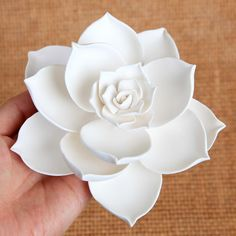 Large Succulent - White in 2019 Slab Pottery, Ceramic Pottery, Ceramic Art, Clay Flowers, Ceramic Flowers, Cold Porcelain Flowers, Lotus Flowers, Diy Clay, Clay Crafts