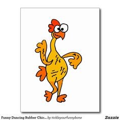 Shop Funny Dancing Rubber Chicken Postcard created by tickleyourfunnybone. You Funny, Funny Cute, Rubber Chicken, Dancing Drawings, Rooster Art, Dance Humor, Spirit Guides, Paint Party, Print Pictures
