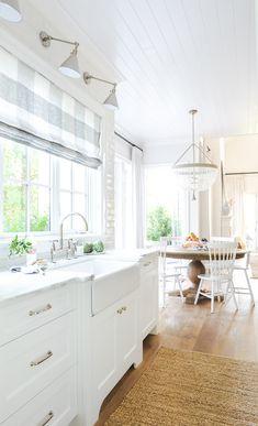 Our Kitchen Tour - Monika Hibbs - Bathroom Ideas Home Decor Kitchen, New Kitchen, Home Kitchens, Kitchen Design, Kitchen Ideas, Kitchen With Farmhouse Sink, Farmhouse Style Kitchen Curtains, New England Kitchen, Coastal Kitchens
