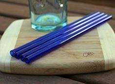 Eco Glass Straws  COBALT BLUE glass  Set of 4 by strawsbycarli, $25.00