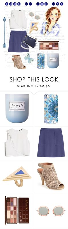 """""""Fall look for Florida weather!"""" by amyjen70 ❤ liked on Polyvore featuring Fresh, GE, Casetify, MANGO, H&M, Jeffrey Campbell, Too Faced Cosmetics and The Row"""