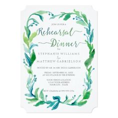 Shop Rehearsal Dinner Watercolor Laurel Leaf Foliage Invitation created by AudreyJeanne. Personalize it with photos & text or purchase as is! Winery Wedding Invitations, Watercolor Wedding Invitations, Wedding Invitation Design, Dinner Invitations, Laurel Leaves, Wedding Matches, Rehearsal Dinners, Wedding Rehearsal, Simple Weddings