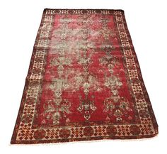 3'10X6'1 Vintage Persian Red Runner Rug Hand Knotted Rug Free Shipping