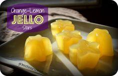 Orange-Lemon Jello Stars. *** I use one cup orange juice and one cup lemon juice and 5T honey. Makes Two ice cube trays – 24  cubes.  -dt