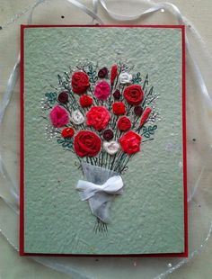 Handmade recycled card, 5x7 with a floral collage of paper, ribbon, beads