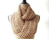 Toasted Almond Brown Orange Infinity Crochet Scarf Cowl Loop Circle Accessory