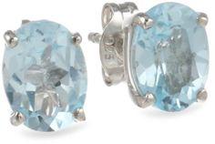 Sterling Silver 8x6mm Oval Blue Topaz Earrings
