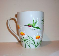 Single Hand Painted Porcelain Cup Hummingbirds and Daisies Coffee Cup, Coffee Mug, Painted Cup, Single Porcelain Cup For Mothers Day Painted Coffee Mugs, Hand Painted Mugs, Painted Cups, Glass Painting Designs, Pottery Painting Designs, China Painting, Dot Painting, Glass Ceramic, Ceramic Cups