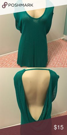 Maurices Teal Crochet Backless Tunic Very sexy! Backless crochet tunic from Maurices. Will need a tank or bandeau underneath as it is see through. Size small but it is very loose fitting and would fit a medium as well. Only worn once or twice. In great condition! Maurices Tops Tunics