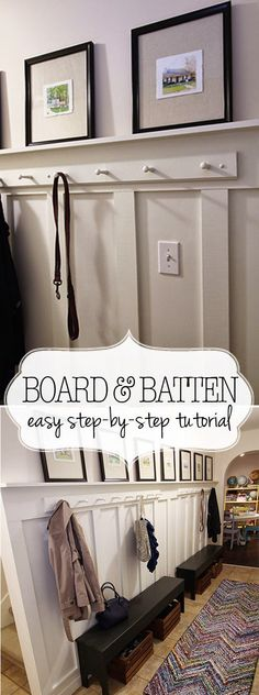 Transform a basic hallway into a board and batten mudroom. Step by step tutorial and building diagram.