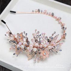 бренд ETE новый лидирующий свадебных ювелирных голый западный стиль серый кристалл розовый принцесса тиара оголовье Западный брак головной убор - Taobao