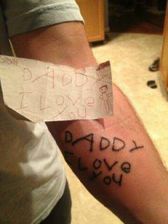 This man's child died so he got the last drawing the kid did for him tattooed on his arm. RePin for respect