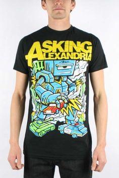 Asking Alexandria - Mens Killer Robot Slim Fit T-shirt in Black, Size: Small, Color: Black Asking Alexandria, http://www.amazon.com/dp/B007MI4NVU/ref=cm_sw_r_pi_dp_Wxm.pb1NC8E77