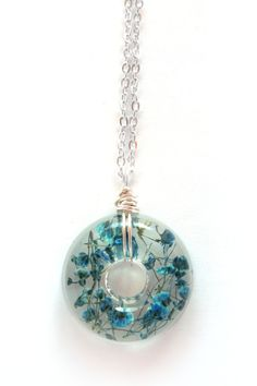Teal Baby's Breath Necklace - Real Baby Breath in Resin - Pressed Flower Jewelry, Resin Necklace, Wire Wrapped Pendant, Donut Pendant on Etsy, $15.00