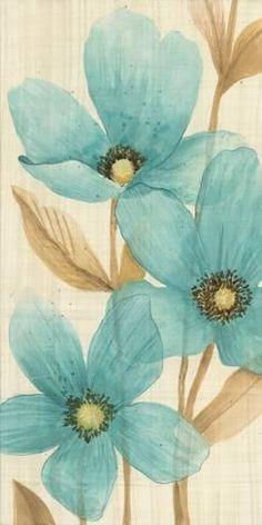 Waterflowers II Flower Art-prints and Posters at affordable prices ! Flower Prints, Flower Art, Art Flowers, Blue Flowers, Painted Flowers, Watercolor Flowers, Watercolor Paintings, Watercolor Paper, Stretched Canvas Prints