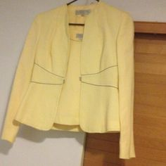 Tahari 2 piece blazer combo Soft Yellow linen blazer and matching sleeveless blouse. Grey detail piping and stitching. Great for the office with grey or white pencil skirt tahari  Jackets & Coats Blazers