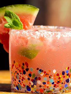 Watermelon Margarita  3 c watermelon pulp, 1 c lime juice, 2 c simple syrup,1.5 c silver tequila, 0.5 c triple sec, 3 c ice