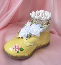 Shabby Chic Yellow Baby Shoe Holder by happybdaytome on Etsy, $22.00