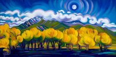 """First Full Moon of Autumn by Tracy Turner, 15"""" x 30"""", oil on linen"""