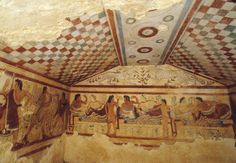 Leopards, banqueters, and musicians, detail of mural paintings in the Tomb of the Leopards, Tarquinia, Italy, ca. 480–470 BCE.