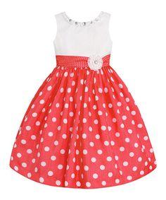 Look what I found on #zulily! Coral & White Polka Dot Dress - Infant, Kids & Tween #zulilyfinds
