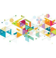 抽象的なカラフルな背景、ミックス幾何学模様 ベクターアートイラスト