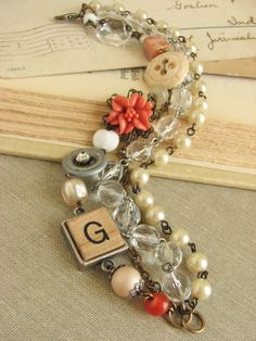 Shabby Chic Layered Assemblage Bracelet with vintage by whybecause, $39.00